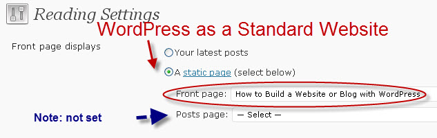 front-page-static-wordpress-website