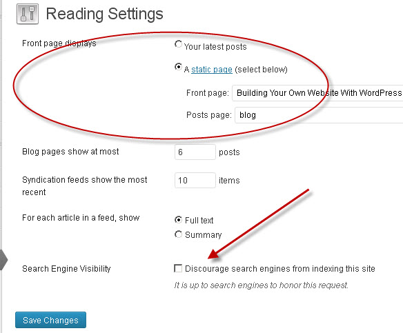 settings-reading-wordpress