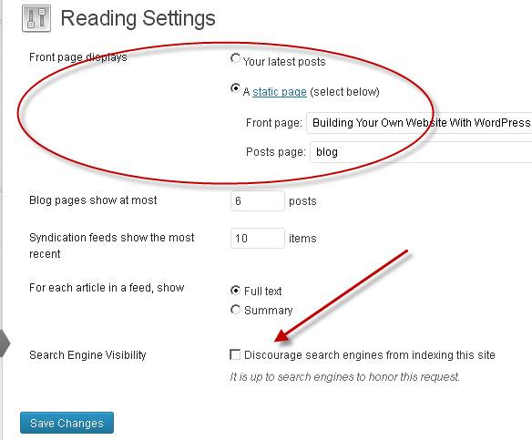 settings-reading-wordpress