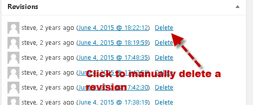 manually delete-revision