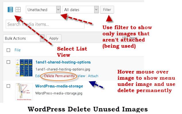 wordpress-delete-image-media-library