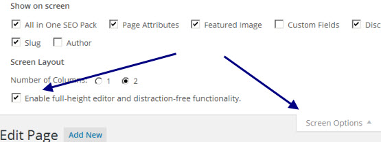 wordpress-screen-options-distraction-free